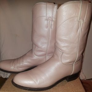 """Justin """"Ropers"""" pink leather boots size 8"""